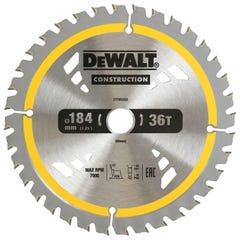 DeWalt Construction Circular Saw Blade 185mm 36T