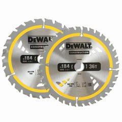 DeWalt Construction Circular Saw Blade 184mm 24/36T - 2 Pacl