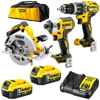 DeWALT 18V 5.0Ah XR 3 Piece Brushless Combo Kit DCK320P2-XE