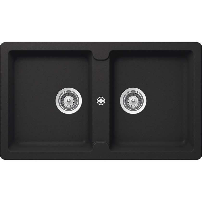 Hafele Quartz Double Bowl Sink Black