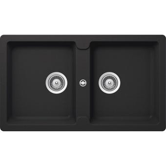 Hafele Quartz Double Bowl Sink Black