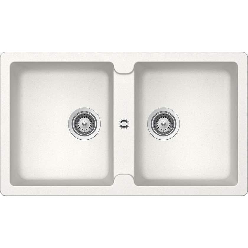 Hafele Quartz Double Bowl Sink White