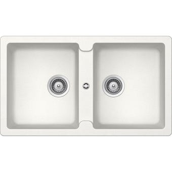 Hafele Quartz Double Bowl Sink White