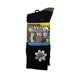 Tradie Sock Cotton Black Fluro Size 7-10 - 3 Pack