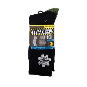 Tradie Sock Cotton Black Fluro - 3 Pack