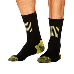 Tradie Mens 2 Pack Work Sock - Black - Size 11-13