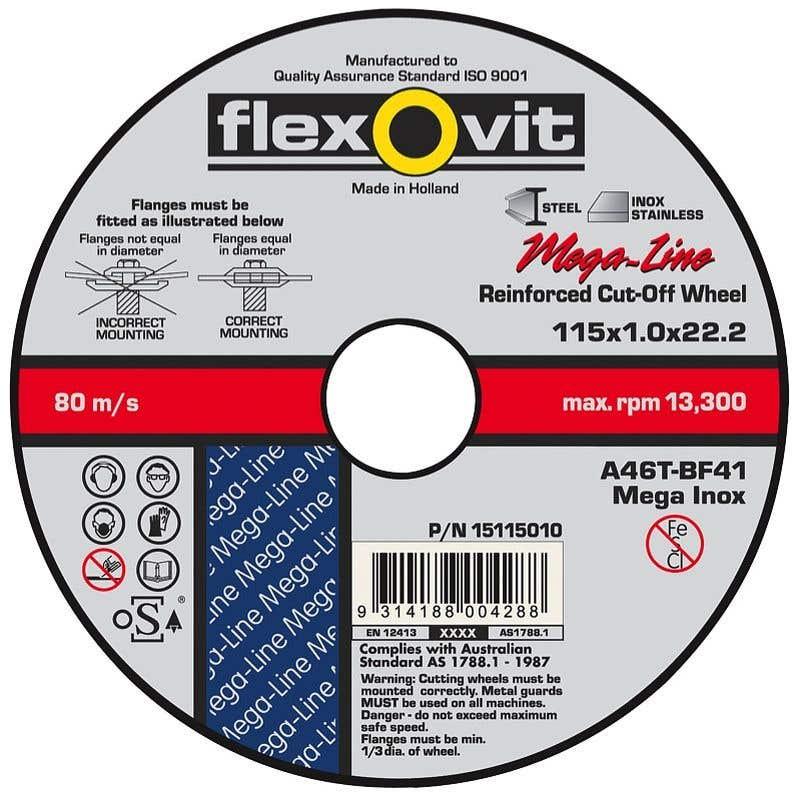 Flexovit Steel & Stainless Cut-Off Wheel Ultra Thin 115 x 1 x 22mm