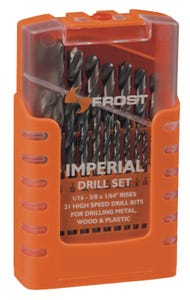 Frost 21 Piece Imperial Jobber Drill Set with Plastic Case