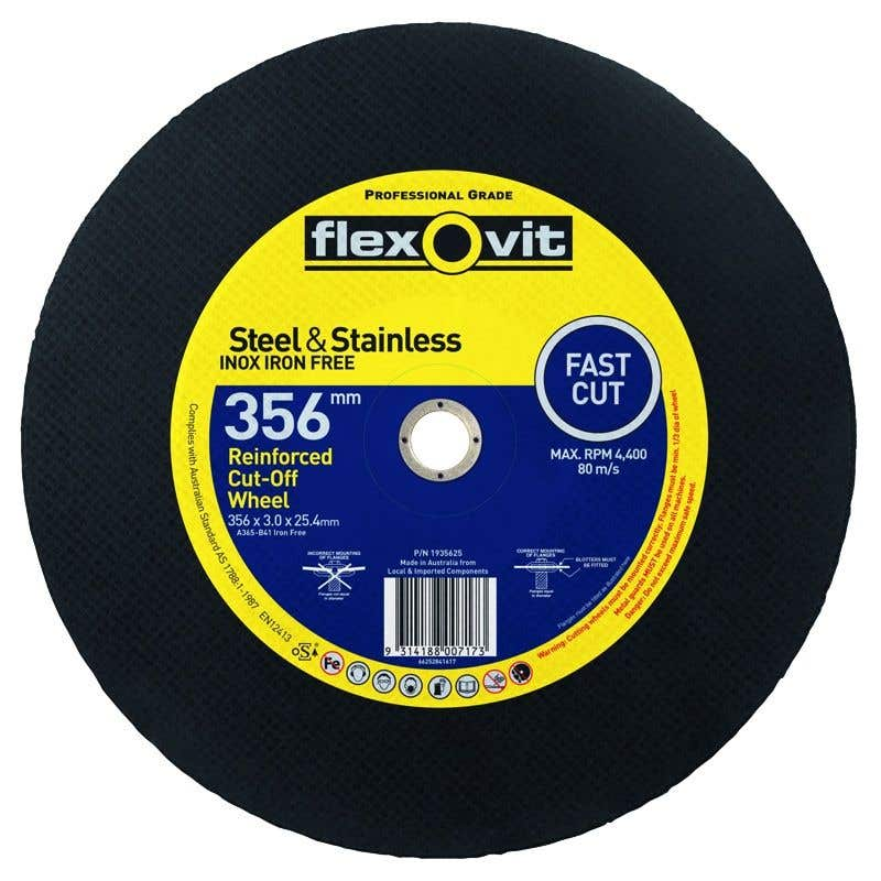 Flexovit Stainless Chop Saw Cut-Off Wheel Steel  356 x 3 x 25.4mm