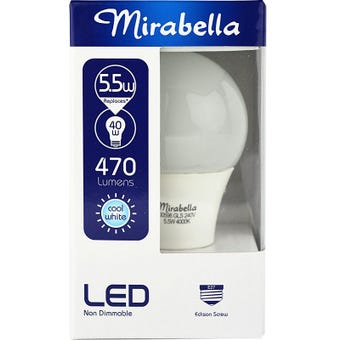Mirabella LED Globe GLS ES 5.5w Cool White