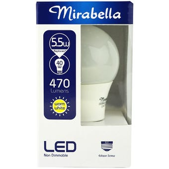 Mirabella LED Globe GLS ES 5.5w  Warm White