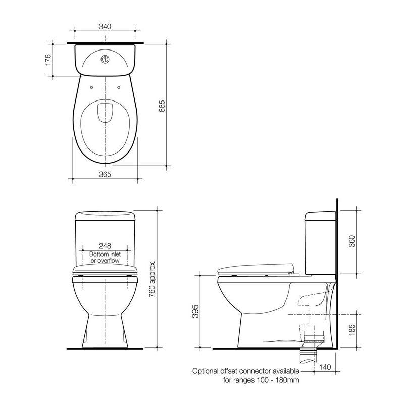 Stylus Prima II Close Coupled Toilet Suite Bottom Inlet P Trap