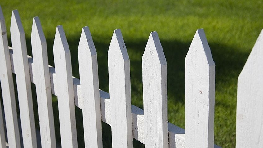 A home-made picket fence