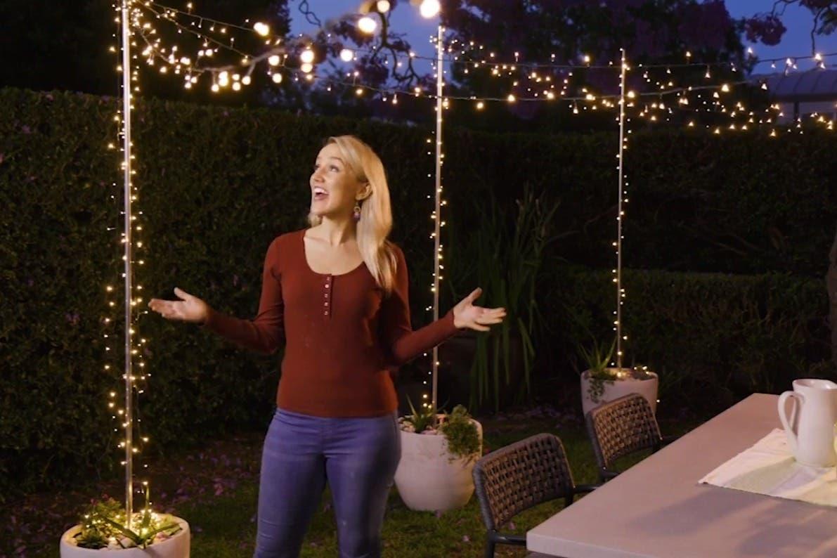 Garden transformation with outdoor lighting