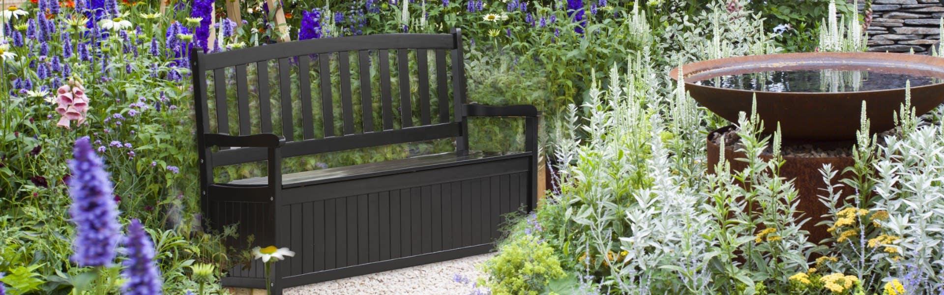 storage seat in outdoor garden