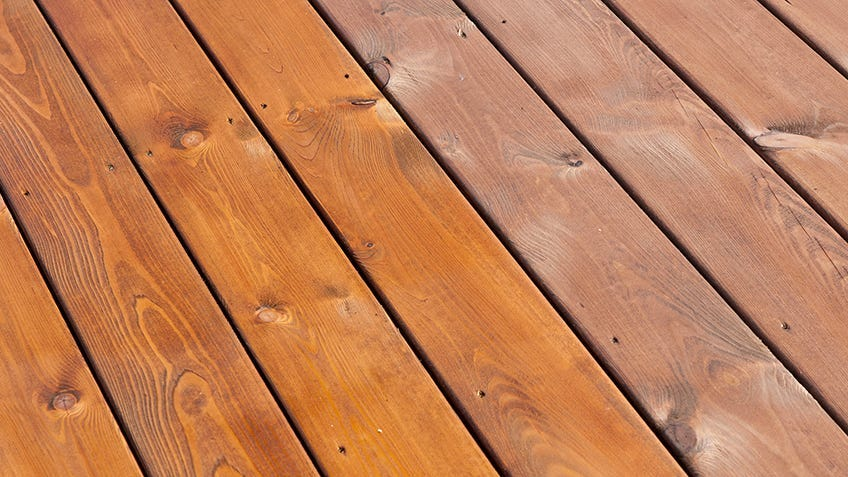 a deck with different types of coatings
