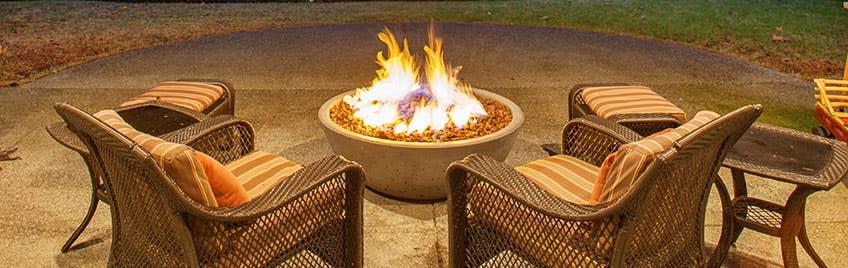 A fire-pit in a backyard