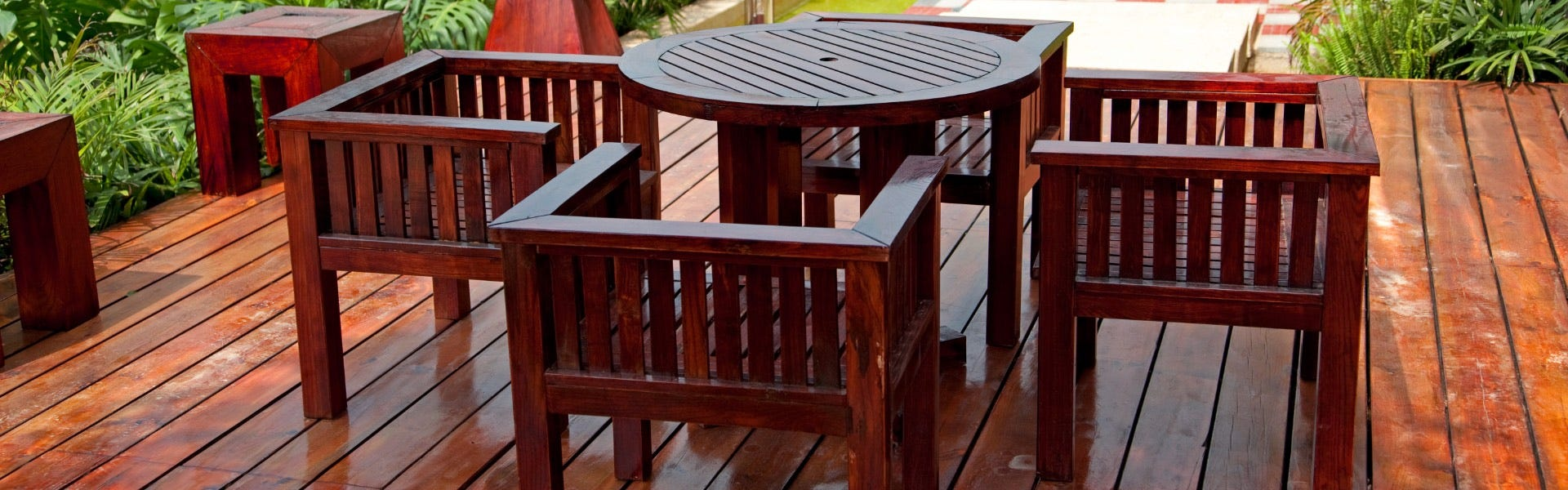 stained decking and wooden furniture