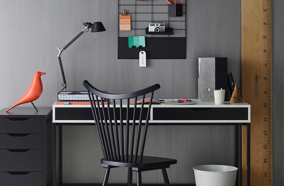 study room with black furniture