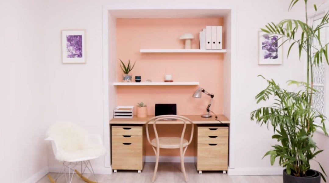 Transform a walk-in cupboard into a stylish study nook