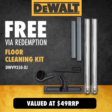 Free via redemption DeWalt Floor Cleaning Kit