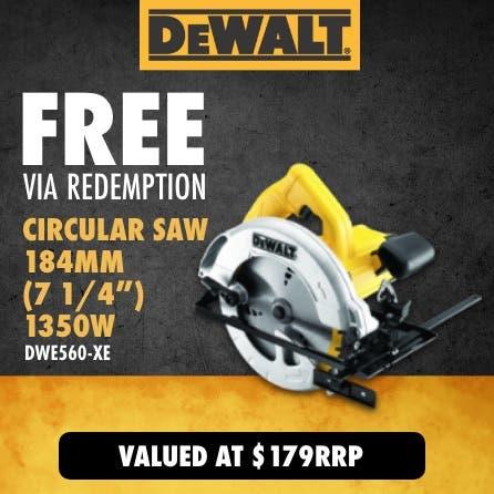 Free via redemption DeWalt 1350W Circular Saw 184mm