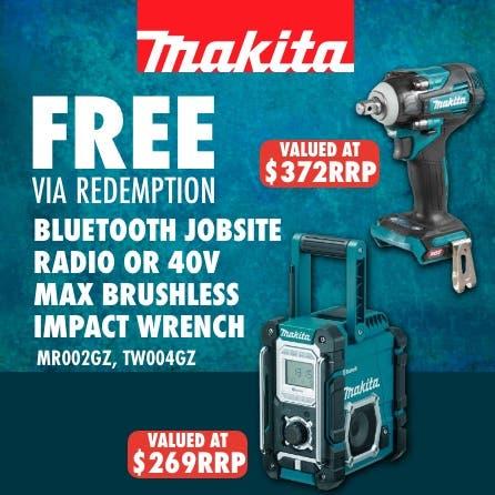 Free Makita 40V Max Impact Wrench or Bluetooth Jobsite Radio