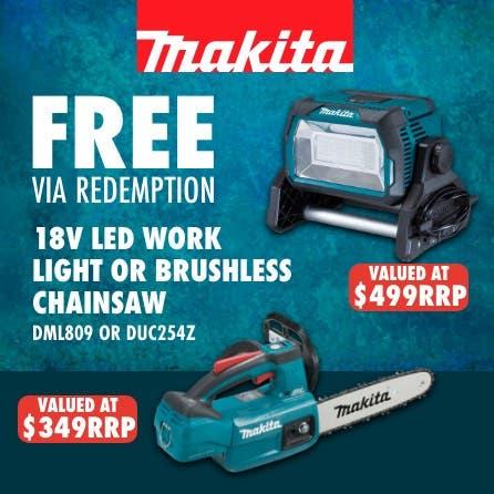 Free via redemption LXT 18V LED worklight or brushless chainsaw